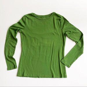 Talbots Solid Green Long Sleeve Crewneck Tee Shirt
